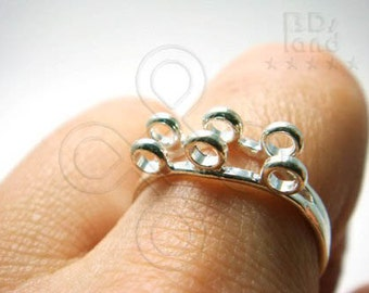 clearance / last -50% / G110SP / 6Pc / 2Rows x 3+3Loops - Silver Plated Adjustable ( Free size ) Finger Ring Findings