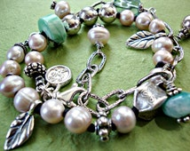 RESERVED for Holly - Payment 2 Pearl Peruvian Opal Necklace Artisan Sterling Silver