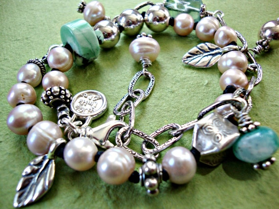 RESERVED for Holly - Deposit Pearl Peruvian Opal Necklace Artisan Sterling Silver