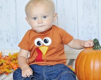 Thanksgiving Turkey Face Applique Shirt, Turkey Applique, Toddler Boys Shirt, Thanksgiving Applique, Fall