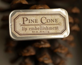 SALE- Pine Cone - lip embellishment in tin - natural lip balm with beeswax, cocoa butter, forest-inspired natural