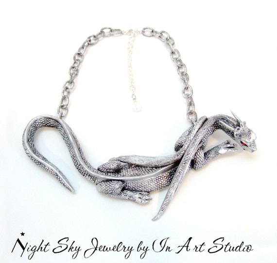 Large Dragon Necklace in Silver and Black - Fantasy Dragon Jewelry