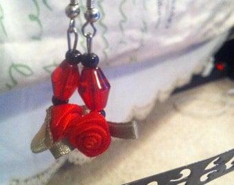 Rose Red Earrings