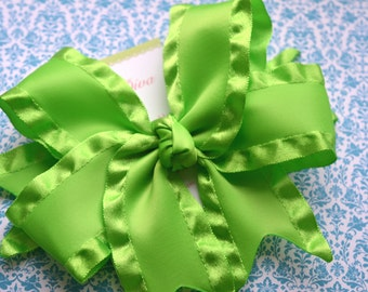Lime Double Ruffle XL Diva Bow