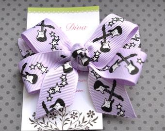 Guitar Girl Classic Diva Bow in Lavender