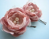 Pink hair flowers, pair of bobby pins in pale dusty blush pink, wedding silk roses,  bridal rhinestones and pearls