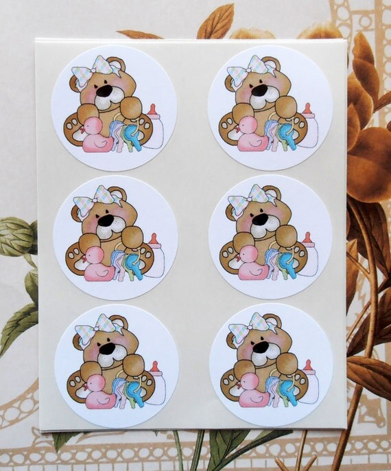 Sticker Baby Shower Envelope Seal Bear Party Favor Treat Bag Sticker SB009