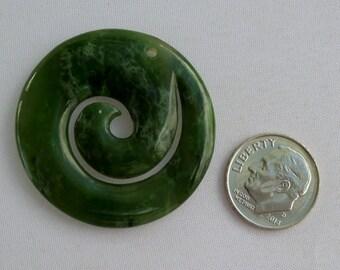 British Columbia Nephrite Jade Maori Closed Spiral Koru Pendant BeadAddic Attic Etsy