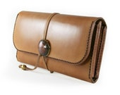 LEATHER WALLET Handmade Long Wallet Biker's Wallet with Japanese Coin Concho in TAN