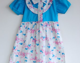 Vintage 1940's Toddler Girl Dress - Blue Birds (3/4T)