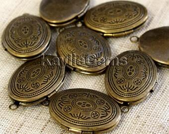 Antique Brass Locket Oval Victorian Style -LKOS-93AB -4pcs