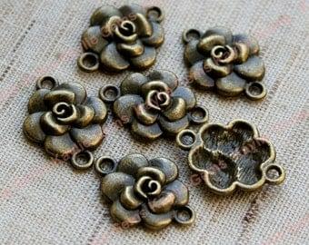 Rose flower 2 Ring Connector Links - Antique Brass -8pcs