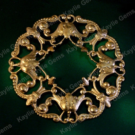 Round Raw Brass Filigree Stamping Floral Base Victorian Ornate 50mm / 2 inches USA SF3416-2 - 1pc