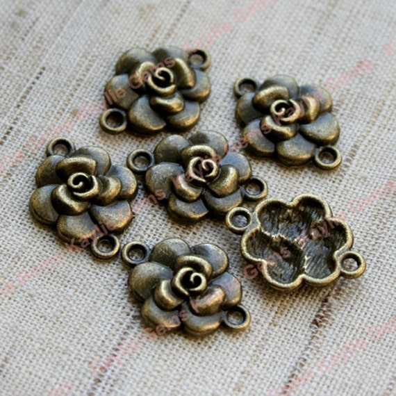 Rose flower 2 Ring Connector Links - Antique Brass -8pcs