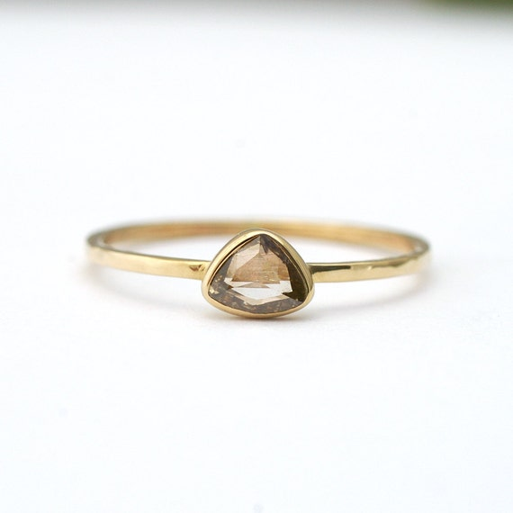 Rose Cut Champagne Diamond Trillion Bloom - One Of A Kind Modern Engagement or Stacking Ring