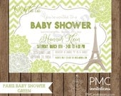 Custom Printed Paris Green Chevron Floral Baby Shower Invitations - 1.00 each with envelope