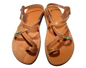 Caramel Decor Roxy Leather Sandals For Men & Women - Handmade Unisex Sandals, Flip Flop Sandals, Jesus Sandals, Genuine Leather Sandals