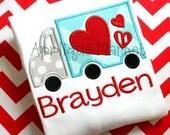 Machine Embroidery Design Applique Heart Truck 2 INSTANT DOWNLOAD