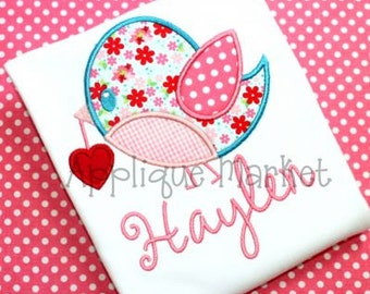 Machine Embroidery Design Applique Bird Heart INSTANT DOWNLOAD