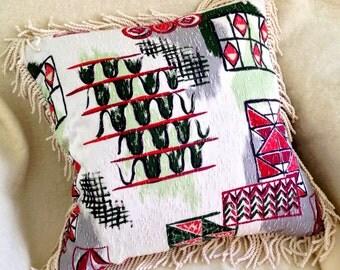 Wild and Wacky Eames Era Barkcloth Pillow //Decorative Pillow //Eco Friendly //Mid Century Modern Throw Pillow