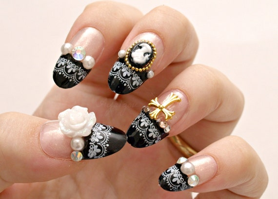 3d nails gothic lolita lolita nails egl japanese nail art like this item prinsesfo Image collections