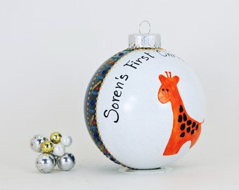 Giraffe personalized hand painted glass ornament