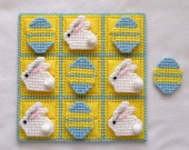 Tic-Tac-Toe Game - Bunnies and Eggs - Light Blue and Yellow