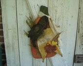 Harvest Thyme Pumpkin, Crow, Star Door Greeter, Primitive, Rustic, Fall, Halloween, Thanksgiving, Ofg, Faap, Hafair