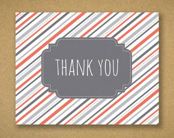 10 Recycled Preppy Gray and Coral Stripe Thank You Cards and Kraft Envelopes - Amber
