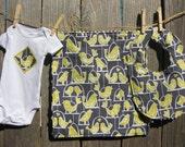 Baby Gift Set - Unisex Tweet Tweet Birdies - includes baby bodysuit, bib, burp cloth - available in size Newborn - 24 months
