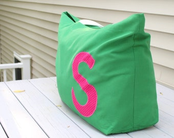 Oversized Beach Bag - Extra Large Tote - Monogram Applique - Custom Color - Duck Cloth