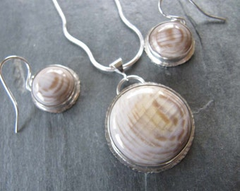 Necklace and Earring Set of Petrified Wood and Sterling Silver