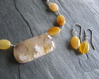 Necklace of Graveyard Point Plume Agate, Yellow Jade, and Sterling Silver with Matching Earrings