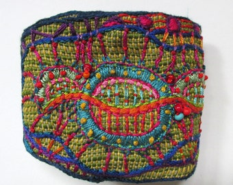 Hand Embroidered Multi-Colored Cuff