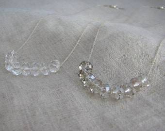 Carrie Necklace Sterling Silver and  Floating Clear or Shaded Swarovski Crystal