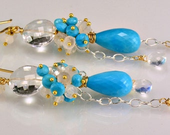 Turquoise Moonstone Sterling Silver 14K Gold Fill Gemstone Dangle Earrings