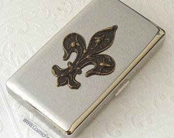 Big Fleur De Lis Cigarette Case Vintage Inspired Big Cigarette Case Holds 120's Longs Size Silver Case Steampunk Cigarette Case New