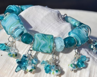 OCEAN BREEZE-Handmade Lampwork and Sterling Silver Bracelet