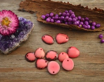Light Pink: Baby Top Tagua Slices, made from Tagua Nuts / Pack of 10 slices (top drilled) / South American Beads, Eco-Friendly Beads