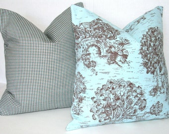 Blue Nursery Pillow Covers, Toile Pillows Gingham 18x18 Blue Brown
