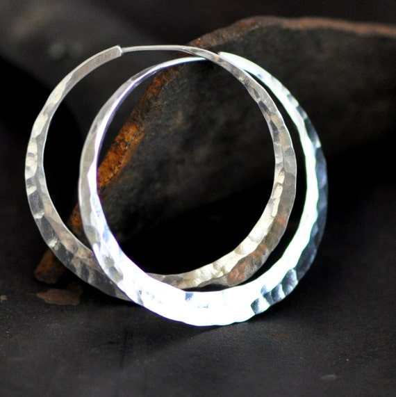 1 1/2 inch hammered sterling silver hoop earrings, extra wide, round medium crescent moon hoop, ball pein or your choice, eco friendly