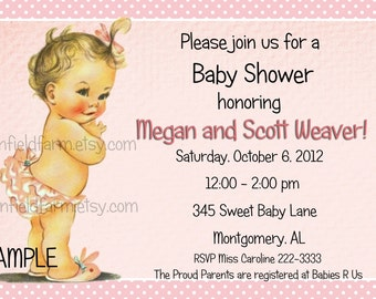 Vintage Baby Shower  Invitation Personalized Digital Download C-522 Sweet Baby Girl