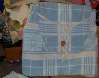 Wanderer Bag Camp Blanket Boho Purse Backpack Style Blue Plaid Wool Cotton Vintage Couture
