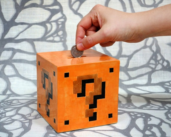 Question Mark Block Bank - Super Mario Brothers Handmade Ceramic Coin Bank