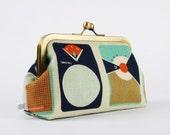 Metal frame clutch bag - Transistors -  Bag purse / Melody Miller / cintage transistors / mod retro / navy blue teal white orange / music