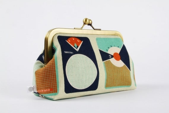 Metal frame clutch bag - Transistors -  Bag purse / Melody Miller / cintage transistors / mod retro / navy blue teal white orange / music