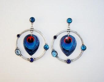 Silvertone Hoop Blue Peacock Dangle Earrings