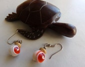 Orange Glass Spiral Shell Wood Earrings With Tiger Eye. Summer Beach Jewelry