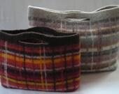 Knitting Pattern PDF  - Portland Plaid City Bag - felted wool hand knit purse handbag - two sizes - includes tutorial for fabric lining