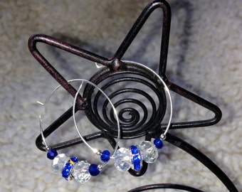 Clear and Cobalt Glass Crystal Hoop Earrings